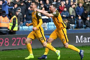 Solly March celebrates his equaliser in Brighton's quarter-final tie with Millwall. Picture courtesy of Getty Images.