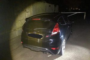 The stolen vehicle recovered by OPU Warwickshire. Photo by OPU Warwickshire.