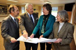 High Sheriff Caroline Nicholls goes to Fernhurst to meet the project leaders of the scheme to build a new pavilion. Neil Hart the Deputy Lieutenant of West Sussex, John Mitchell of the Fernhurst Recreation Ground Trust, High Sheriff Caroline Nicholls, District Councillor Norma Graves. Pic Steve Robards SR1903442 SUS-190902-110307001