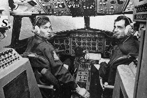 Pictured is Flight Lieutenant Eric King, the Captain, and Flying Officer Brent Watts, right, who were the pilots of the 46 Squadron Andover aircraft.