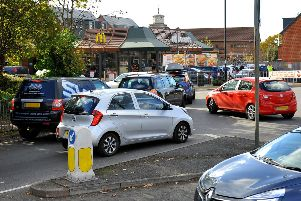 Traffic queueing to enter McDonalds drive thru in Burgess Hill. Pic Steve Robards SR1829128 SUS-180311-162546001