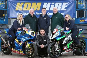 Pictured at the launch of the 2019 KDM Hire Cookstown 100 in the Mid Ulster town are Kenny Loughrin and Norman Crooks of the Cookstown Club, Rebecca Carson, John Caddoo and Lynsey Turkington of KDM Hire and top road racer, Michael Sweeney. Picture: Stephen Davison.