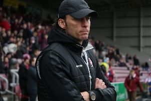 NORTHAMPTON, ENGLAND - FEBRUARY 16: Crawley Town head coach Gabriele Cioffi looks on prior to the Sky Bet League Two match between Northampton Town and Crawley Town at PTS Academy Stadium on February 16, 2019 in Northampton, United Kingdom. (Photo by Pete Norton/Getty Images) SUS-190221-085206001