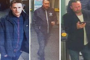 Do you recognise these men? CCTV images provided by British Transport Police