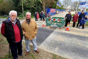 Roger Whaley and Rod Dune and other concerned residents in Folders Lane, Burgess Hill. Photo by Steve Robards
