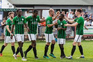 Burgess Hill Town celebrate Dan Beck's goal. Picture by Chris Neal.