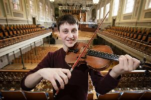 Violinist, Samuel Kane, from Loughgall in County Armagh, new Leader of the Ulster Youth Orchestra, with the 239 year old, Milton Violin, made by renowned Neapolitan violin maker, Joseph Gagliano
