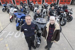 Worthing Fire Station manager Roy Barraclough with ride organiser Clive Johnson, his wife Karen and other members of the 1066 Chapter, a Harley Davidson bike group