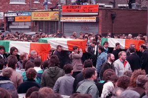 The funeral of three IRA Gibraltar bombers in 1988. The fourth bomber, Peter Rooney, died in Belfast last week