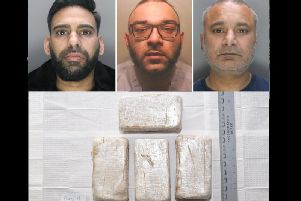 (Top) gang tingleaders Mohammed Irfan Khan, Mohammed Khalid and Farrukh Khokar; (below) exhibit of the seized substances