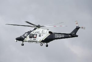 The man was flown to hospital with serious head injuries