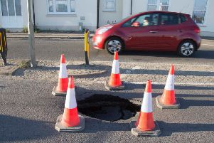 The sinkhole on the A259 at Portslade