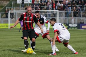 Jamie Brotherton (left) in action for former club Lewes