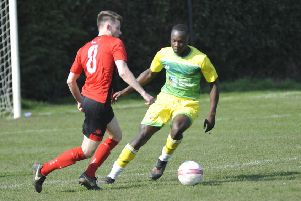 Action from Westfield's game against 2018/19 Southern Combination League Division Two champions Rustington at the end of March. Picture by Simon Newstead