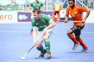 John Jackson in action today at the FIH Series Finals in Le Touquet, against Egypt