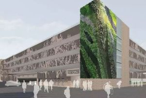 Amended plans for proposed Piries Place Car Park showing 'living wall' (photo from HDC's planning portal). SUS-180820-182434001