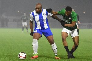 Haywards Heath Town and Burgess Hill Town do battle in last year's Sussex Senior Cup semi-final. Picture by Grahame Lekhy