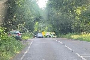 Emergency services at the scene of the collision at Balcombe this morning (July 16)