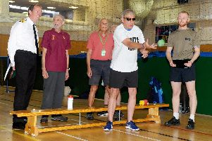 Blind veterans from across the UK took part in a Sports Day as part of an exciting programme of activities on offer at the HMS Sultan Blind Veterans UK Summer Camp, on Monday, August 5.''Pictured is: Richard Cruice attempts bucket ball.''Picture: Sarah Standing (050819-2546)