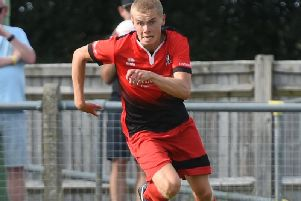 Matt Berridge in action for Hassocks. Picture courtesy of Liz Pearce.