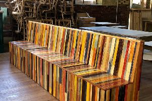 Bench seat for The Crown Pub, Hastings Old Town