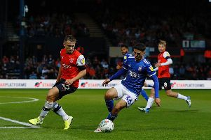 Luke Bolton in action on his Town debut against Ipswich