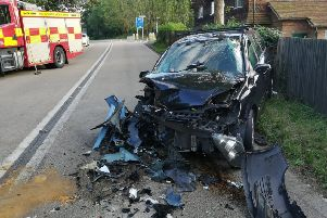 The serious crash closed the A24 yesterday between Great Daux and Knob Hill. Photo courtesy of Sussex Police