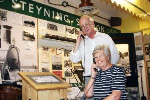 Andrew Woodfield and Joan Denwood at the new listening post in Steyning Museum, part of the newly-refurbished railway section. Picture: Derek Martin DM1984832a