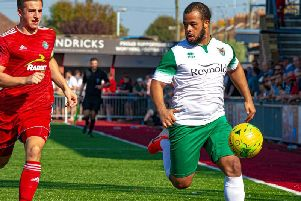 Ty Mitford on the attack at Worthing - but the Rocks were below their best and lost 3-0 to spark harsh words from the management / Picture: Tommy McMillan