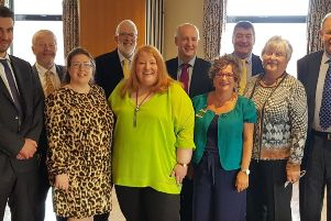 Alliance Party MLAs and councillors at the business breakfast with party leader Naomi Long.