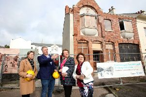 Cllr Cheryl Johnston, chair of THI Project Board; proprietor Mark Cobain, Castle Seaview Developments; the Mayor, Cllr Maureen Morrow and  Angela Lavin, senior investment manager, National Lottery Heritage Fund.