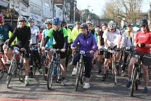 Cyclists at the start of the Haywards Heath Bike Ride in 2017.