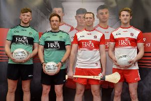 Derry GAA senior players Oran Harkin, Thomas Mallon, Alan Grant and Brendan Rogers pictured at the launch of the new Derry GAA kit for 2019 in O'Neill's store, Waterloo Place, on Wednesday evening last. DER4818GS026