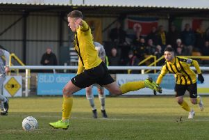 Colby Bishop reduces the deficit from the spot. Pictures: Louise Smith