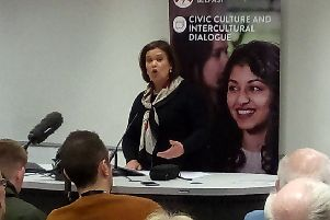 Mary Lou McDonald at the civic unionism event at QUB
