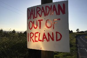 Anti Greencastle gold mine signs in the Sperrins. Canadian company Dalradian Gold to submit planning request for mine to DOE