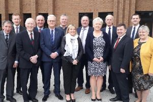 UUP leader Robin Swann pictured with candidates running in the forthcoming Council elections in Mid Ulster