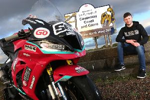 Adam McLean pictured with his McAdoo Racing Kawasaki on the north coast.