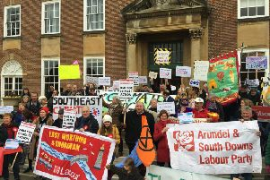 Protesters outside county hall today