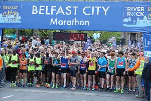 Runners on the start line at last year's Belfast City Marathon. This year's race takes place on Sunday, May 5