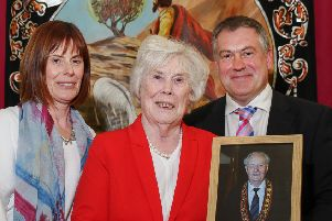 Millar Farr's widow Margaret (centre), daughter Jayne and son Ivan at the memorial service in Cookstown