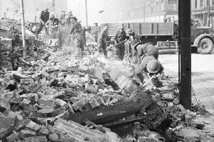 Soldiers clearing rubble after Belfast's Easter air raid, 1941