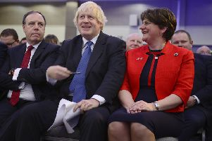 Boris Johnson, arguably the most likely successor to Theresa May, with Nigel Dodds and Arlene Foster at the DUP's conference in 2018