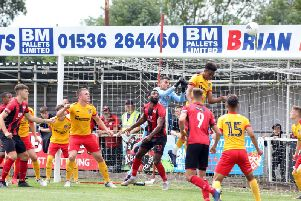 Goalmouth action from the friendly between Kettering Town and a Northampton Town XI