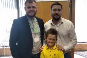 Alfie with council leader Pete Marland