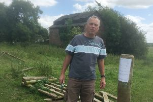 Alain Bonamy pictured last year at The Old Pump House at Asfordby which he hoped to convert into a family home and smallholding - it was destroyed in a fire late on Friday night EMN-190819-100740001