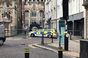 Police in Trinity Street following the incident. Picture: Daniel Burton