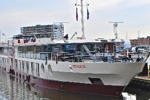 The four-star MS Bellejour moored at Zaandem