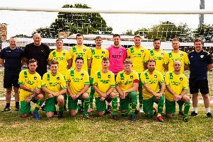 Sidlesham, posing for their 19-20 team photo on a day when they didn't need to hold their noses / Picture by Chris Hatton