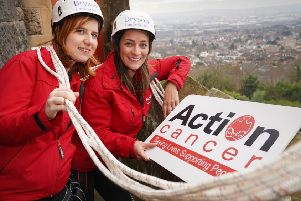 Action Cancer's Fundraising Team members Laura McCoy and Lynn Sanderson encourage people from Mid Ulster to sign up for the Twilight Abseil on Thursday, November 7